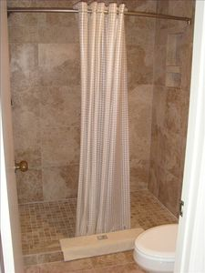 Luxurious tiled master shower