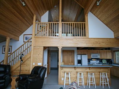 Staircase up to the loft/master bedroom.