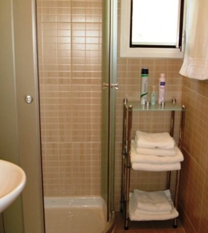 Upstairs bathroom with large shower area