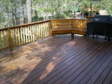 nice patio overlooking the heavily wooded property and mogollon rim