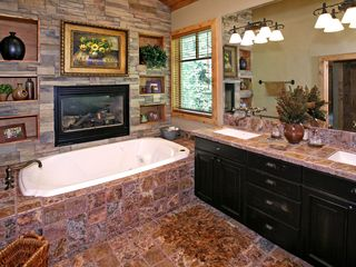 Sundance cabin photo - Master bath with fireplace and jetted tub.
