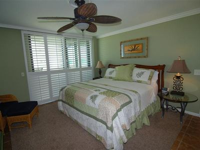 Master Bedroom with King Bed.  Enjoy coffee in bed with a beach view!