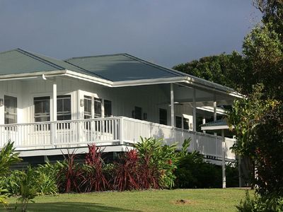 Front view of this charming bungalow on 3 beautiful acres in historic Kohala.