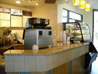 Coffee bar with Starbucks coffee and snacks