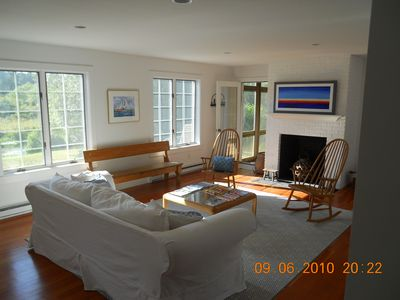 View from entrance foyer to Miacomet Pond and living room