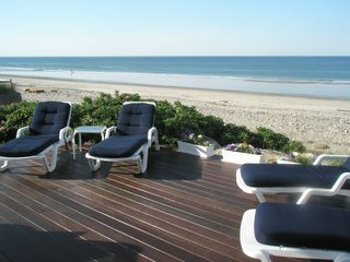 Marshfield cottage photo - Comfortable lounge chairs on Mahogany Deck
