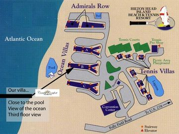 Resort layout Hilton Head Beach and Tennis. We are in the B bldg close to pool