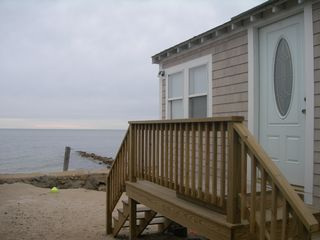 Yarmouth cottage photo - Oceanfront cottage, private sandy beach and deck directly on Nantucket Sound!