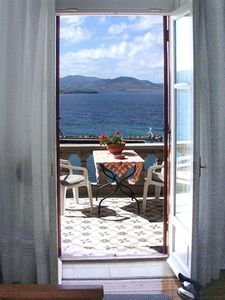 Villa Molova, first floor Balcony a window to Aegean Sea .