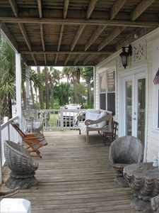 Folly Beach house rental - front porch downstairs