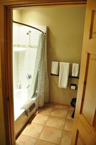 Tub/shower in bath. Well lit and bright cheery white subway tile.