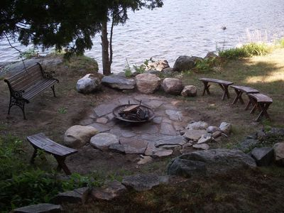 Fire pit and seats.