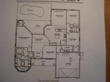 home layout showing master on left and other bedroom on the right
