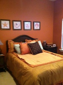 Professionally decorated Master Bedroom, upscale linens & double vanity in bath.