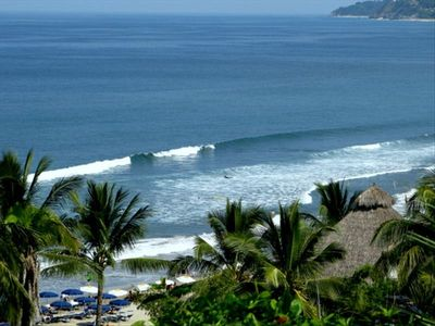 Surf and beach right below property