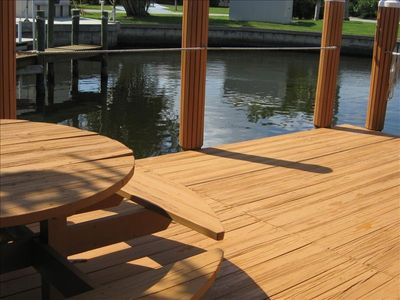 Fish or relax on the spacious dock with a picnic table just steps from your door