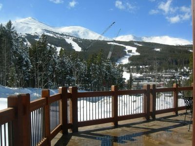 View of ski area from deck; ski-in/ski-out to Peak 8