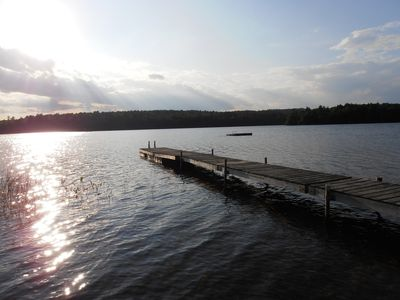 Our dock and float at David Pond shared waterfront lot.