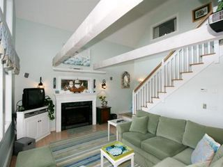 Truro house photo - Living Room and Stairs Leading to 2nd Floor Bedrooms