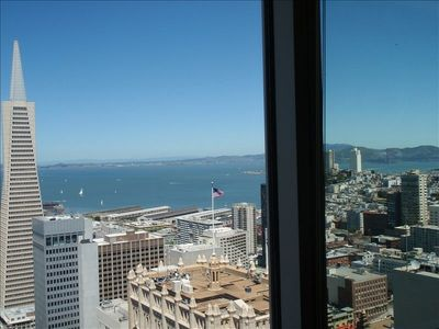 View from Living Room with Trans America Building and Golden Gate Bridge