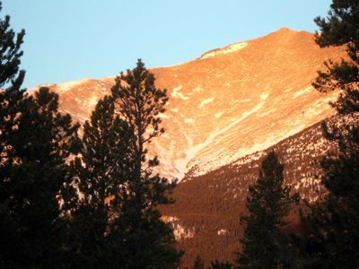 Photo of Mt. Meeker from the cabin deck.