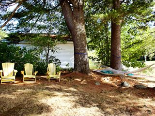Brant Lake farmhouse photo - Backyard Hammock and Sitting Area.