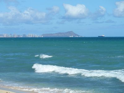 Clear view of Diamond Head from where you sit. Surfing is good here too.
