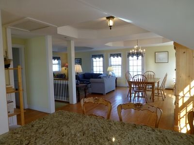 Nantucket Town house rental - view of living room and dining area from kitchen of front house