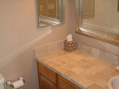 COOL STONE TILE IN MASTER BATH--WITH RAIN SHOWER!