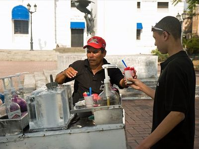 Raspado-snow cones in front of French Embassy