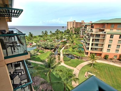 Full ocean views from this top floor unit over looking the pools. Open green spaces and cool Maui breezes make this one of the best 2 Bedroom / 2 bath units Honua Kai can offer.