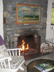 Boothbay cottage photo - Living Room Stone Fireplace