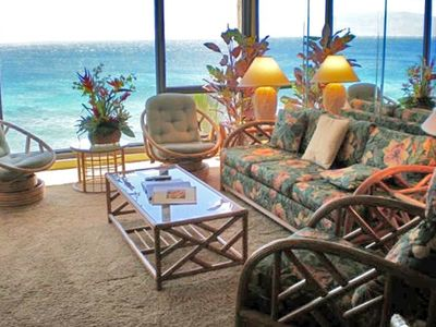 Panoramic ocean views from living room