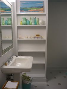 Updated bath with lots of space for your toiletries