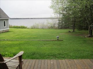 Surry cottage photo - View of yard and water from deck.