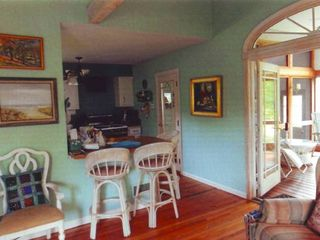 Westhampton house photo - From Living Room Looking Towards Kitchen. Bar Stools/Eating Area
