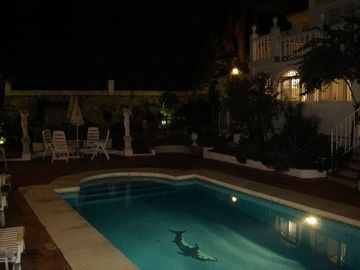 pool & garden at night