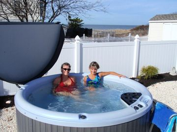 Cape May house rental - 6 person hot tub with view of the bay