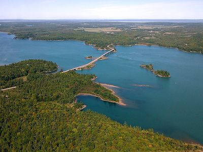 Aerial view of bridge to St. Joseph Island