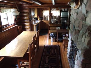 Ely cabin photo - Wildloon Dining Room--Shares fireplace with Den