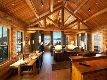 Teton Village house rental - Bright panoramic views every window, hand hewn log trussed 20' vaulted ceiling