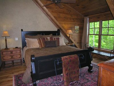 Loft Master bedroom, king black sleigh bed, WOW what views