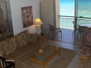 Honokowai townhome photo - A private lanai off the living room downstairs with spectacular view.