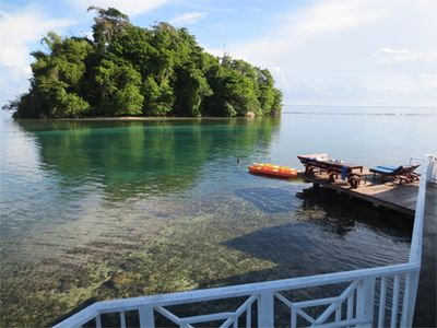 Port Antonio villa rental - View from Norse Point bedroom patio of the deck and Pellew Island.