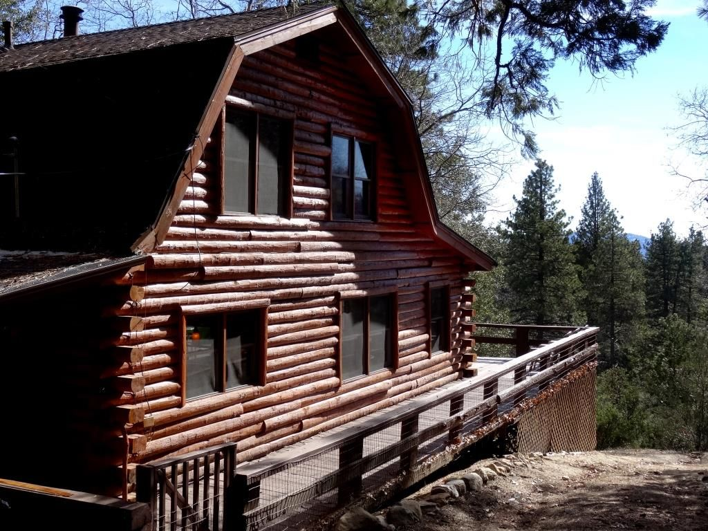 Secluded True Log Cabin With Hot Tub And Forest Views . Full resolution  portrait, nominally Width 1024 Height 768 pixels, portrait with #366B95.