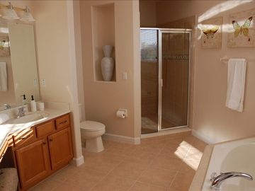 5 Piece masterbath. Walk in shower + soaker tub. Granite dual vanities