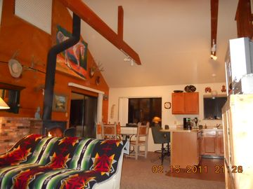 A little living area toward dining and fully equipped kitchen