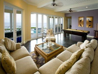 One of two living areas overlooking ocean. Note the pool table.