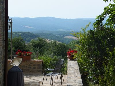 Spectacular panoroma to Tuscan hills and distant mountains.