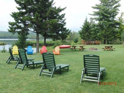 Adirondack chairs, picnic tables, firepit, hot tub